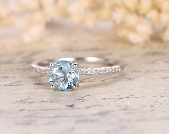 1ct Aquamarine Solitaire Ring 14K White Gold Half Eternity Diamond Band 6.5mm Round Aquamarine Engagement Ring March Birthstone Ring Bridal