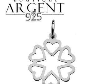 Charm pendant 20 X 13.8 mm shaped multi heart 925 Silver