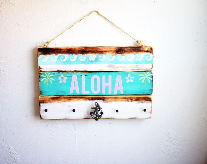 Aloha Sign / Anchor Hook / Jewelry Hanger / Sea Gypsy California / Pallet / Hawaii Art / Brandy Melville sign