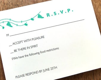 Printable RSVP Card - Response Card Download - Instant Download - RSVP Template - Response Card - Just Married - Teal Just Married rsvp