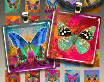 Printable download BUTTERFLIES Digital Collage Sheets 1x1 inch + 7/8x7/8 inch size images for square pendants, magnets, scrapbooking ArtCult