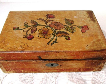 Antique Trinket Box with Insert  Germany Folk Art Natural Rustic Wood Jewelry Box Bavarian Art Deco 1940s Home Decor Jugendstil