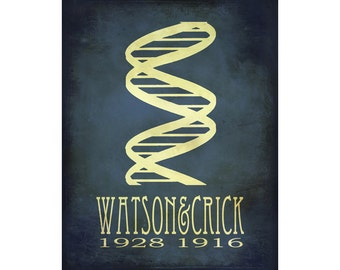 50% OFF 8x10 Watson and Crick  - Double Helix, DNA Art, Steampunk Art Print,  Rock Star Scientist Poster