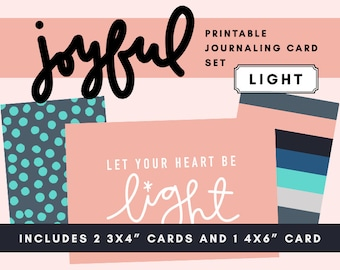 Joyful Printable Journaling Card Set - Light