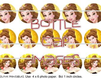"""Princess Belle 4x6 - 1"""" circles, bottle cap images, stickers"""