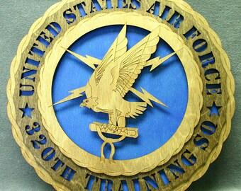 "Custom 12"" Wood Air Force 320th Training SQ - Wall Tribute - FREE SHIPPING"