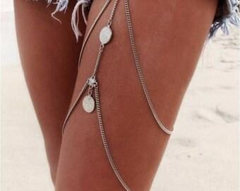 Lulu AZ Large Coin Pendant Silver Tone Boho Festival Leg/Thigh Chain NEW HC5