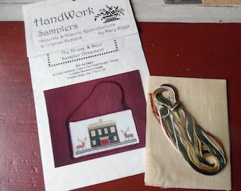 The House and Deer Sampler Ornament kit by Handwork Samplers