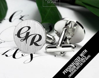 Initials Cufflinks - Personalized Cufflinks - Engraved Cufflinks monogram - Groom cufflinks