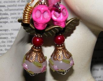 Day of the Dead Earrings, Pink Turquoise Angel Skull Jewelry, Dia de los Muertos, Day of the Dead Jewelry, Halloween Earrings
