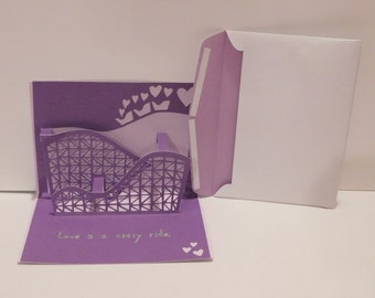 Love is a crazy ride Valentine's day card, Roller Coaster, 3D, popup
