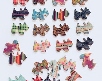 """Dog Buttons, 24 Wooden Scottish Terrior Dog Buttons, 1"""" Dog Buttons for Crafts, Sewing, Scrapbooking, 2 Hole Buttons"""