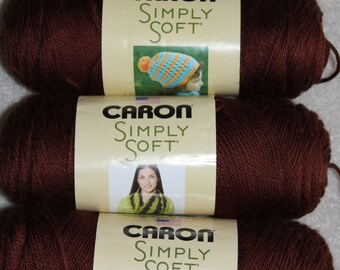 Caron Simply Soft Yarn - Chocolate - 3 Skeins