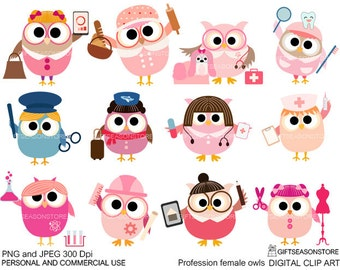 Profession female owls clip art part 3 for Personal and Commercial use - INSTANT DOWNLOAD