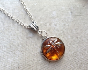 Silver Dragonfly in Amber Necklace, Sassenach Czech Glass Dragonfly Pendant, gift for women