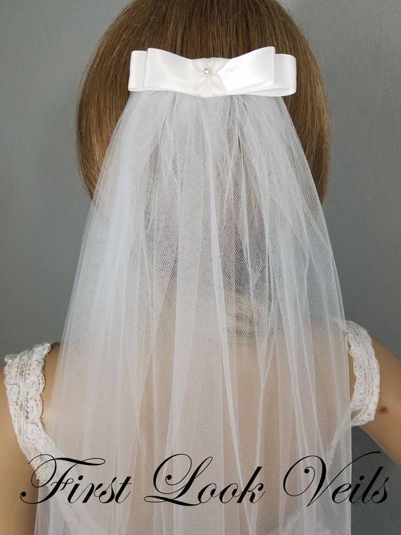 White Bow Veil, Bridal Waist Veil, Wedding Bow Veil, Wedding Vail, Bridal Attire, Bridal Accessory, Bridal Accessories, Bride, Veil, Women