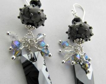 Handmade Lampwork & Vintage Swarovski Earrings
