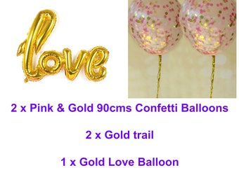 Pink and Gold Love Balloon Set - 2 x Jumbo Confetti Balloons with Tassels and Gold Love Balloon -Wedding Balloons, Bridal Shower, Engagement