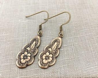 Pansy Dangle Earrings. Fun Antique Brass Earrings.