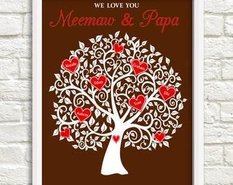 Meemaw and Papa Heart Family Tree, Gift for Meemaw & Papa , Personalized Grandchildren Gift, Grandparent family tree, Custom Wall Art