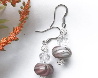 Purple Earrings, Beaded Earrings, Boho Earrings, Mother's Day Gift, Gift For Mom, Marble Earrings, Gift For Her | Jewelry for a Cause
