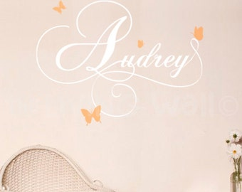 Personalized Baby Girl Name With Butterflies Wall Stickers, Nursery Decor Australian Made
