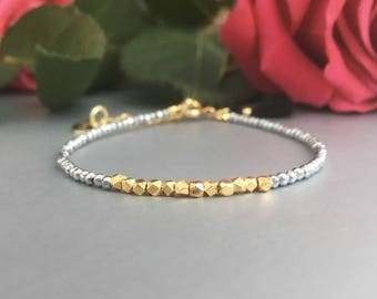 Gemstone bracelet, beaded bracelet, gold nugget bracelet, silver and gold bracelet, gift for her, gift for girlfriend, friendship bracelet