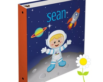 Personalized Astronaut Binder - Space 3 Ring Binder for Boys - Custom School Binder - Astronaut Binder with Name - Back to School Gift