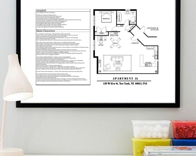 TV Show Floor Plan - Seinfeld Apartment Layout - Poster Art for Sitcom Apartment of Jerry Seinfeld-al gift for a Seinfeld fan!