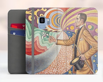 "Signac ""Portrait of Felix Feneon"" Samsung Galaxy S9 folio case iPhone 7 folio case Galaxy S8 Plus folio Phone cover. WC-PSI-04"