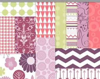 Digital Background Paper Pink Purple Green Tribal - Commercial Use