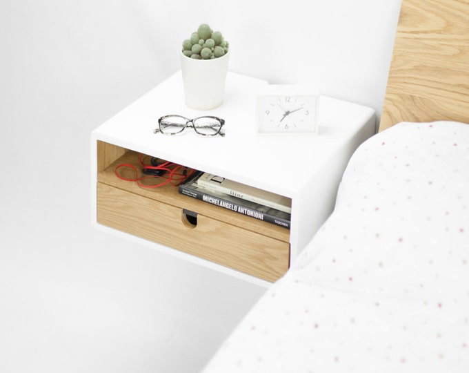 White Floating nightstand bedside table drawer  in solid oak mid century modern