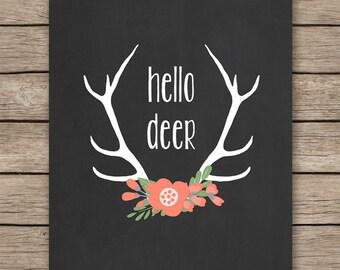 Hello Deer Art Print, Deer print, Antler art, Printable art, Deer printable, Floral antler print INSTANT DOWNLOAD