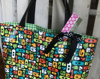 Oil Cloth Tote Bag in Numbers Print & Green Gingham