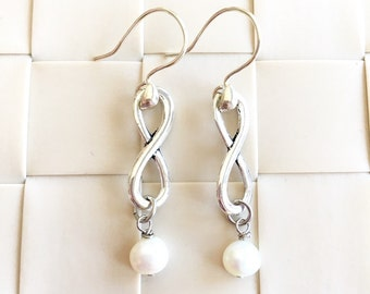Infinity of Love Silver-plated Earrings, Infinity Earrings, Pearl Earrings, Bridesmaid Earrings, Bridal Shower Gift, Christmas Gift