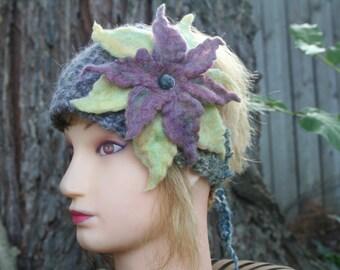 Angora Headband with Felted Flower-Pink, Grey, Yellow - Angora, Silk, Wool- Ear Warmer, Ear Muffs- Boho Accessory