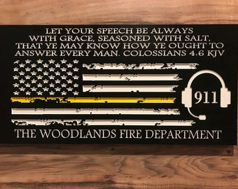 Personalized 911 Dispatcher Firefighter Gift Christmas Custom Sign Rustic Home Decor Thin Yellow Line American Flag Mothers Fathers Day