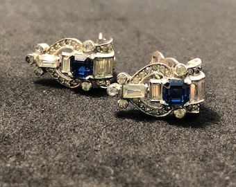 Mazer Signed Vintage Rhinestone Clip-On Earrings