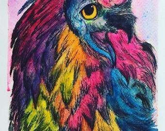 Rainbow Eagle- Unframed Original Painting