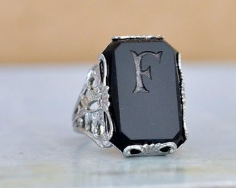 vintage find ART DECO RING silver plated initial F ring, black pressed glass faceted ring,