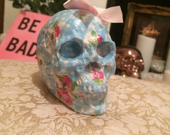 """Floral skull 4"""" ornament with pink bow"""