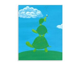 Whimsical Three Turtle Boys Room Print - Turtle Nursery Art
