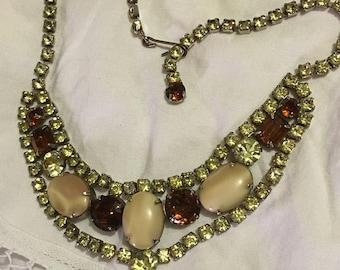 Vintage Topaz & Clear Rhinestone Choker Necklace