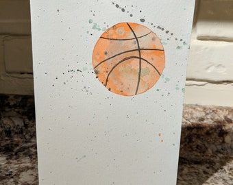 Hand Painted Watercolor Basketball Greeting Birthday Card
