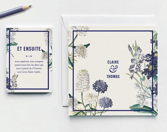 Personalised Rustic chic wedding invitation. Blue and white flowers.