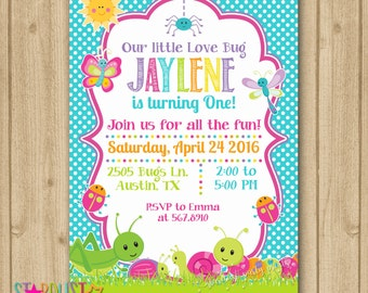 Bugs Invitation, Bugs Birthday Invitation, Bugs Birthday, Bugs Party, Girl Bugs Invitation