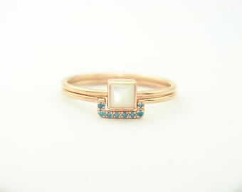 Wedding Set - Square Mother of Pearl Ring & Pave Blue Diamond Ring - Gold Ring