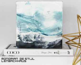 """Abstract """"Waves in Tune 3"""" Encaustic Painting on cradled board, Modern Art Original painting with Indigo Blue Color"""
