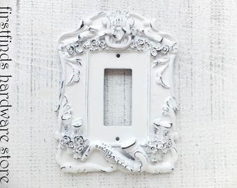Light Switch Plate Electrical Outlet Plug Cover GFI Shabby Chic White Black Musical Framed Painted Single Rocker DESCRIPTION BELOW