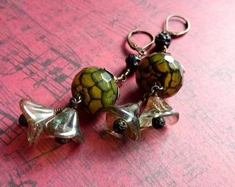 Green and Black Crackle Agate Earrings with Moss Green Flowers